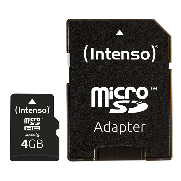 Intenso microSD-Karte, Class 10, mit SD-Adapter, 40 MB/s, 4 GB