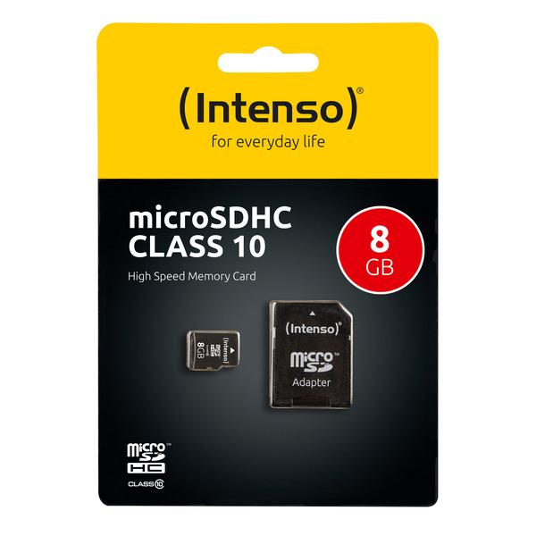 Intenso microSD-Karte, Class 10, mit SD-Adapter, 40 MB/s, 8 GB