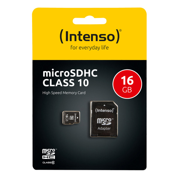 Intenso microSD-Karte, Class 10, mit SD-Adapter, 40 MB/s, 16 GB