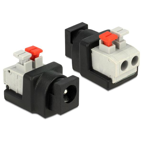 Delock Adapter Terminalblock mit Drucktaste > DC 2,1 x 5,5 mm Buchse