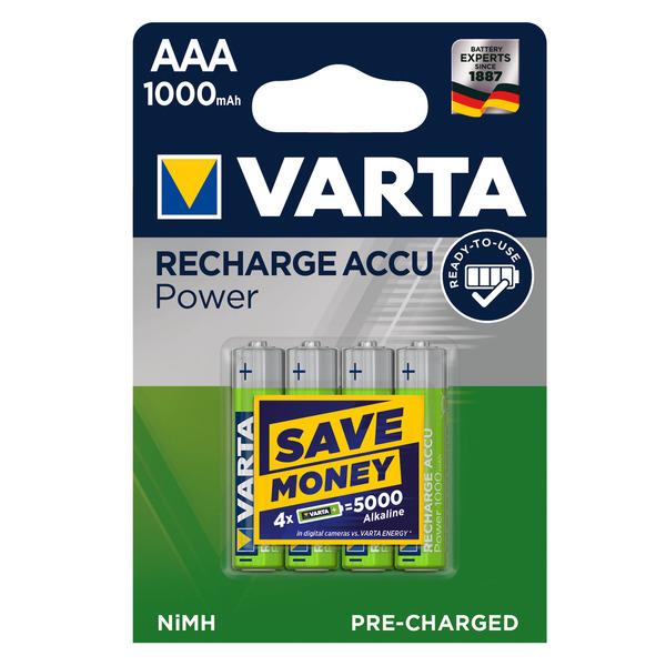 Varta Recharge Akku Power AAA 1000 mAh, 4er Pack