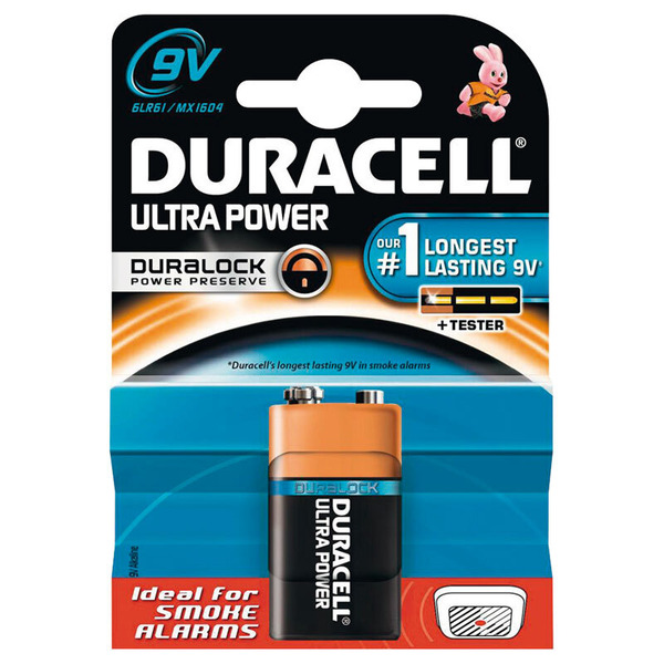 Duracell Ultra Power Alkaline Batterie 6LR61 (9V-Block), 1er Pack