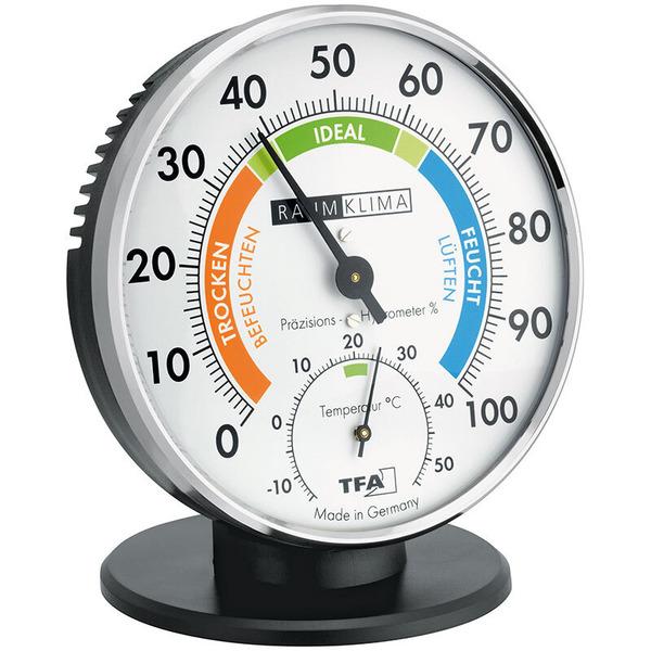 TFA analoges Thermo-Hygrometer, mit farbigen Komfortzonen, mit Standfuß