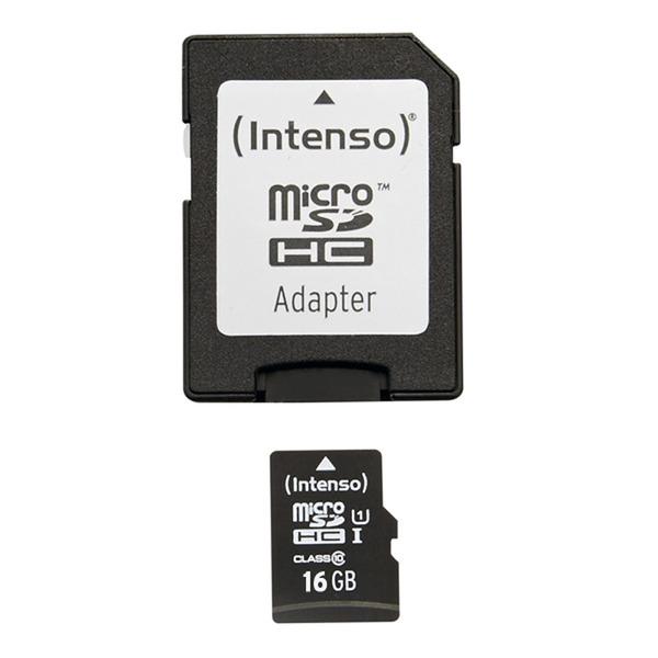 Intenso microSDHC-Speicherkarte, mit SD-Adapter, UHS-I, Class 10, 45 MB/s, 16 GB
