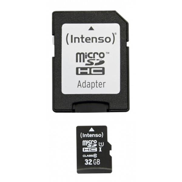 Intenso microSDHC-Speicherkarte, mit SD-Adapter, UHS-I, Class 10, 45 MB/s, 32 GB