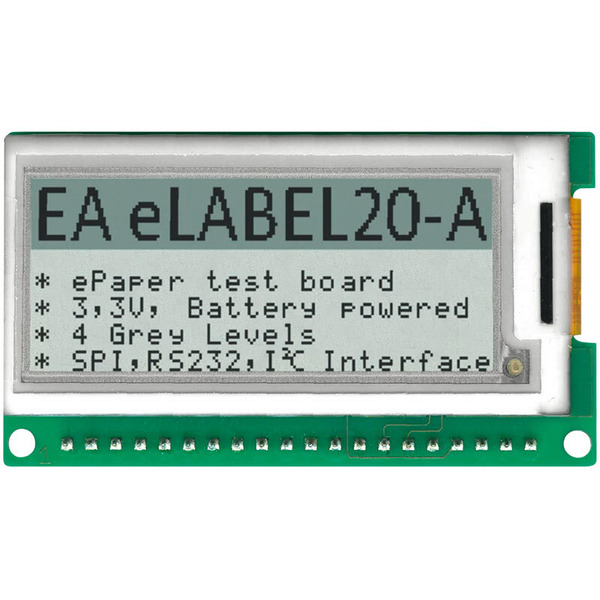 "Electronic Assembly ePaper Display EA eLABEL20-A, 5,08 cm (2""), 172 x 72 Pixel, mit Ansteuerung"
