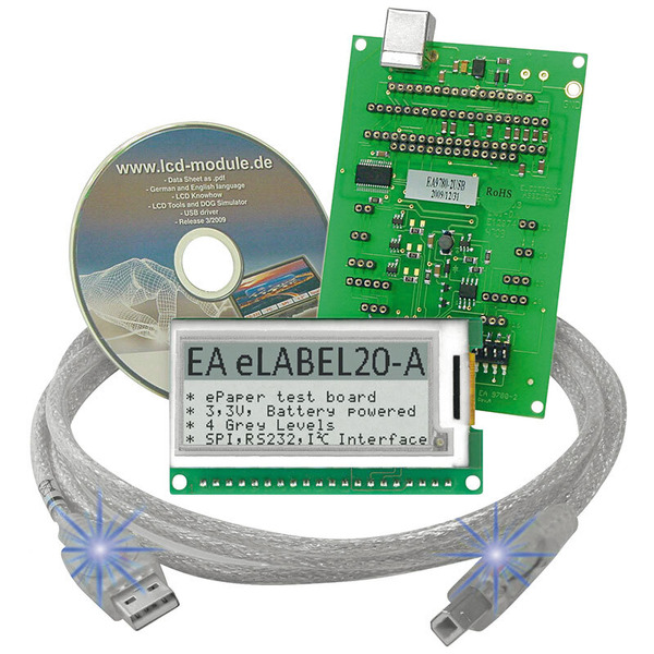 Electronic Assembly ePaper Display EA EVALEPA20-A, 172 x 72 Pixel, mit Ansteuerung und USB-Interface