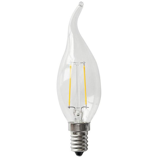 Segula 2-W-LED-Kerzenlampe Filament, E14, warmweiß, klar, Windstoss