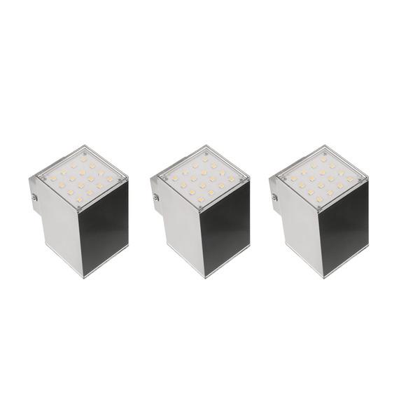 ELV 6-W-LED-Wandleuchte, warmweiß. 2-flammig, 3er-Set