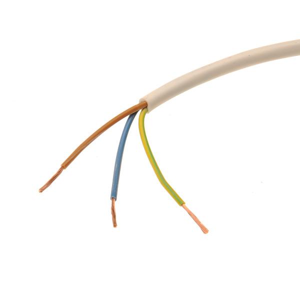 Harmonisierte Starkstromleitung H05VV-F, runde Ausführung, 3 x 1,50mm² (30x0,26mm), weiss, 25m-Rolle