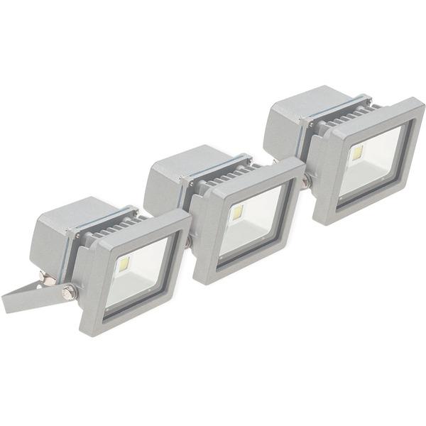 ELV 3er Set 10-W-LED-Flutlichtstrahler, kaltweiß, IP65