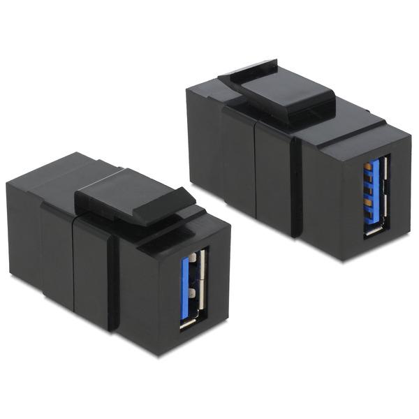 Delock Keystone USB 3.0 A-Buchse > USB 3.0 A-Buchse schwarz