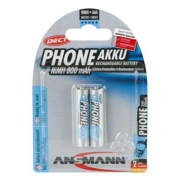 Ansmann Telefon-NiMH-Ersatzakku, ready2use, Micro AAA, 800mAh,HR03, 2er Pack