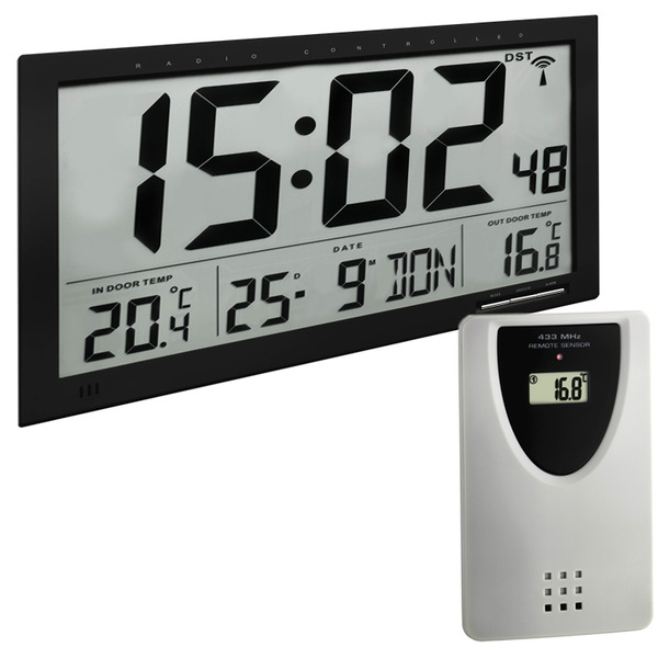 TFA XXL-Funk-Wanduhr mit Außentemperaturanzeige, 367 x 235 x 28 mm