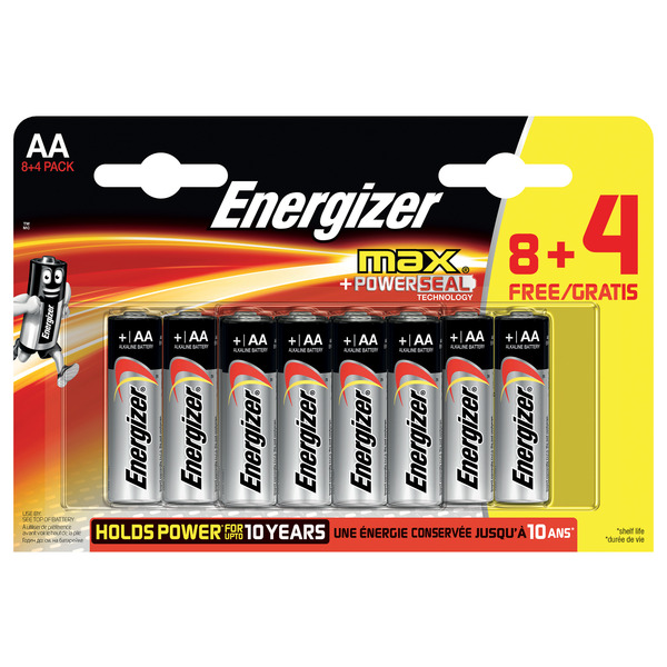 Energizer Max Alkaline Batterie Mignon AA, 8+4 Sparpack