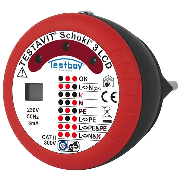 testboy Steckdosen-Prüfgerät Schuki 3 LCD