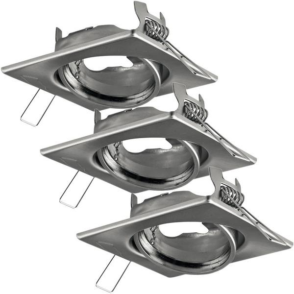 Heitronic 3er Set Edelstahl-Einbaustrahler für GU5,3-Lampen (MR16), eckig, schwenkbar