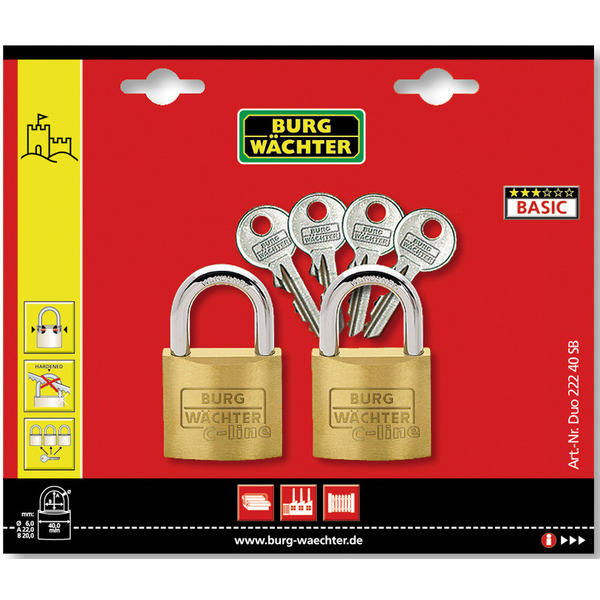 Burg-Wächter Vorhangschloss-Set Duo 222, 40 SB