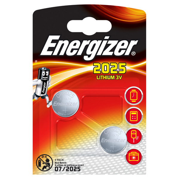 Energizer Lithium-Knopfzelle CR2025 2er Pack