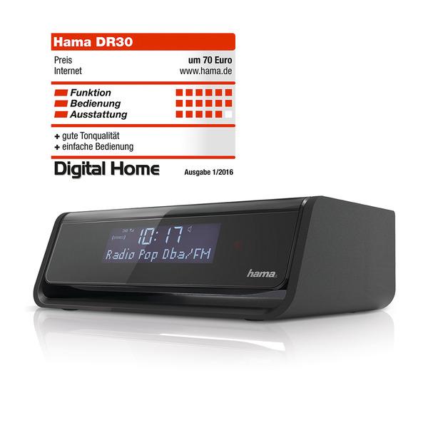 hama Digitales Uhrenradio DR30, mit DAB+/UKW-Empfang und automatischer Displaybeleuchtungsanpassung