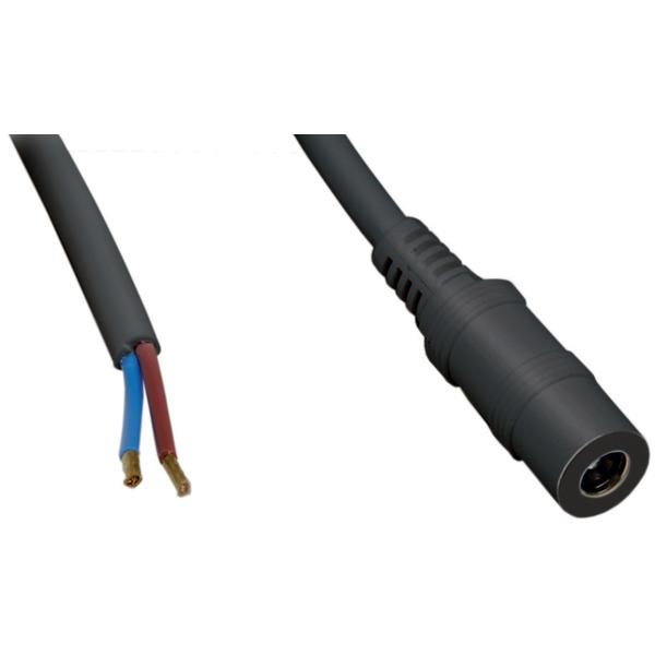 DC-Kabel 2 x 0,5 mm² mit DC-Hohlsteckerkupplung 2,5/5,5 mm gerade, 2,5 m, schwarz