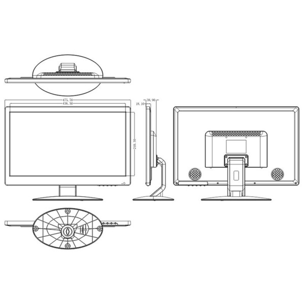 "LCD-Überwachungsmonitor 49,5 cm (19,5"") mit BNC-, VGA- und HDMI-Eingang"