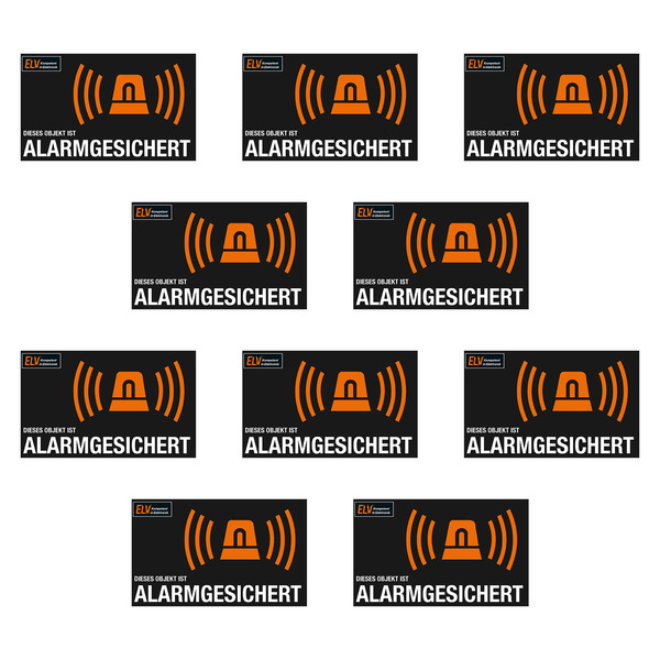 ELV Warnaufkleber Alarmanlage, 10er-Spar-Set