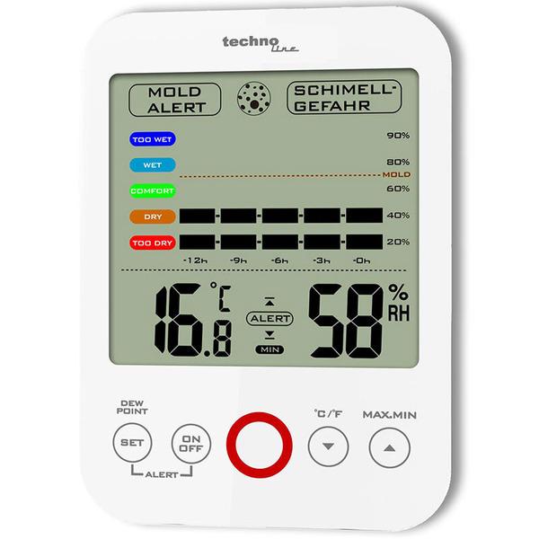 technoline Thermo-/ Hygrometer WS 9422, mit Klimakomfortanzeige und Schimmelalarm, weiß