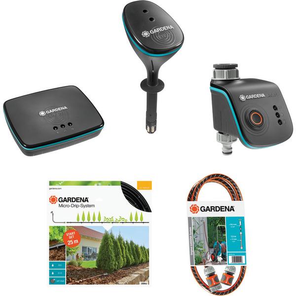 """GARDENA smart system Starterset """"Pflanzenreihe"""" mit Gateway, Funk-Bewässerungscomputer, Funk-Bodenf"""