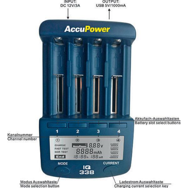 AccuPower Ladegerät und Akku Analyzer IQ338 für Li-Ion / NiCd / NiMH