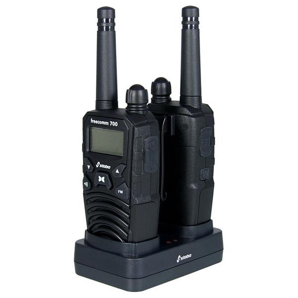 stabo PMR-Handfunkgerät freecomm 700, UKW-Radio, Vibrationsalarm, 2er Set