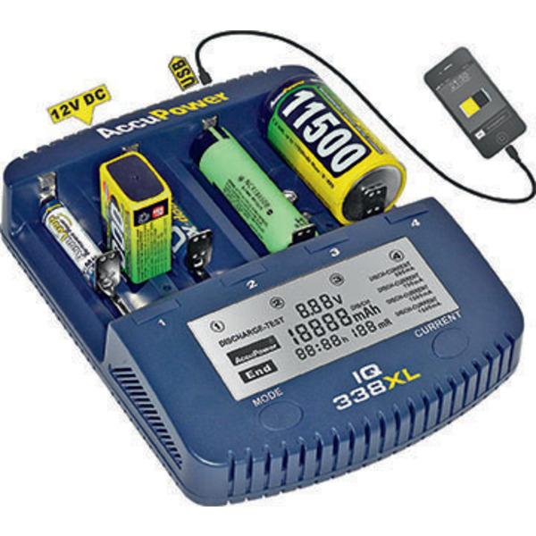 AccuPower Ladegerät und Akku Analyzer IQ338XL für Li-Ion / NiCd / NiMH