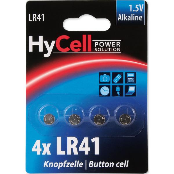 Hycell Alkaline-Knopfzelle LR 41, 1,5 V, 4er Blister