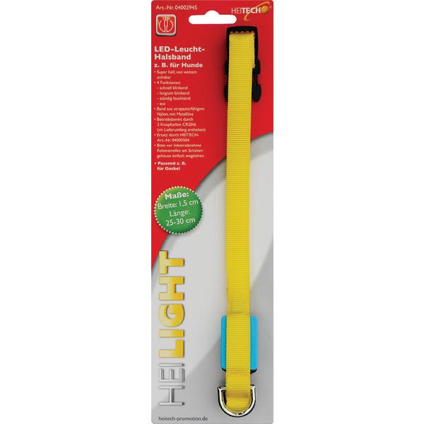 Heitech LED-Leuchthalsband für Hunde, Länge 25-30 cm