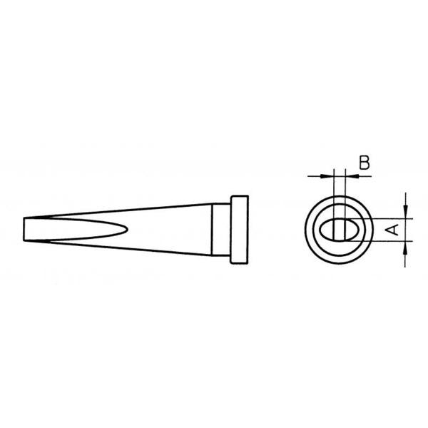 Weller Ersatzlötspitze LT L, meißelförmig, Spitze 2,0 mm breit