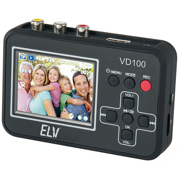 """ELV Video-Digitalisierer VD100, mit 6 cm (2,4"""") Vorschaudisplay, Stand-alone-Betrieb, speichert dire"""