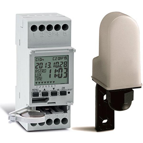 Sesam-Systems 2-Kanal-Hutschienen-Dämmerungsschalter mit Zeitschaltuhrfunktion