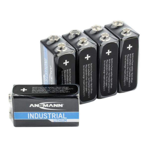 Ansmann Lithium-Batterie 9 V-Block, 5er-Pack