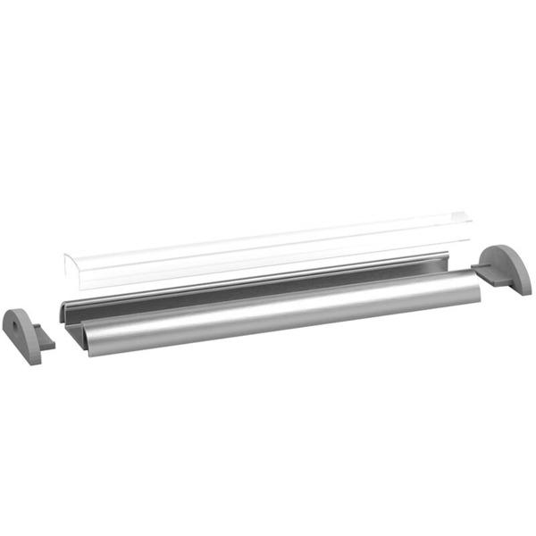 1-m-Aluminiumprofil P2-1 für LED-Streifen bis 12 mm Breite, mit matter Abdeckung, inkl. Endkappen