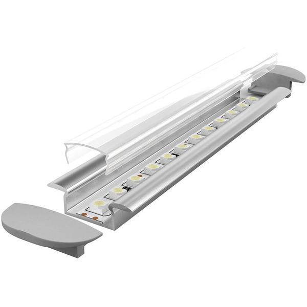 1-m-Aluminiumprofil P6-1 für LED-Streifen, mit matter Abdeckung, inkl. Endkappen