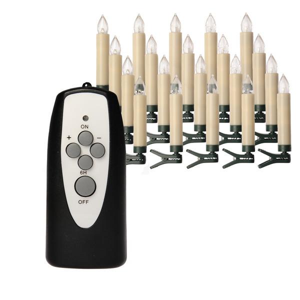 20er-Set Kabellose Mini-LED-Baumkerzen, mit Fernbedienung und Batterien