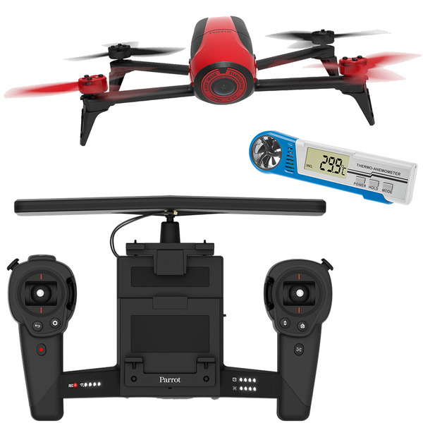 Parrot Bebop Drone 2 Quadrocopter, rot, mit Skycontroller im Set mit Hand-Windmesser