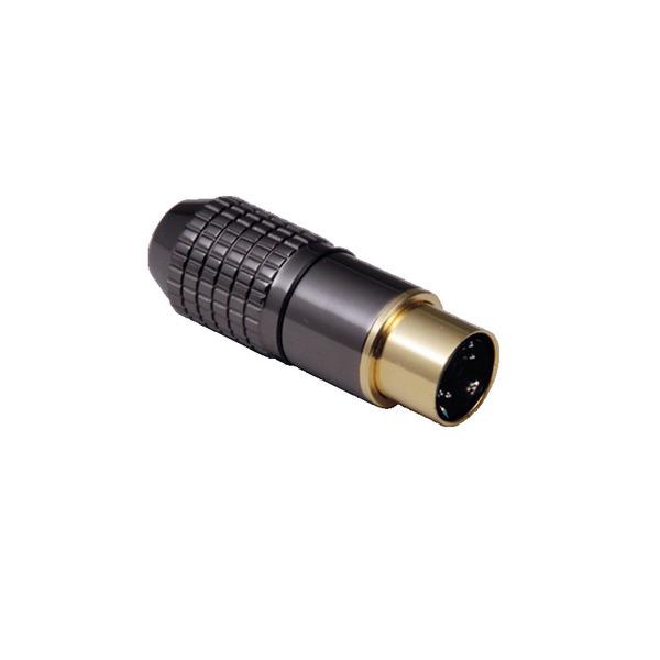 BKL Electronic Mini-DIN-Stecker 6-pol., hochwertige Metallausf., Anschlüsse und Kontakte vergoldet