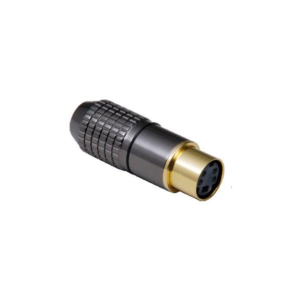 BKL Electronic Mini-DIN-Kupplung 6-pol., hochwertige Metallausf., Anschlüsse und Kontakte vergoldet