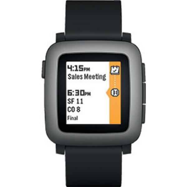 Pebble Smartwatch Time, mit Bluetooth-Funktion, für Android und iOS, schwarz