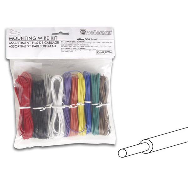 Velleman Kabelset 10 Farben x 0,2 mm&sup2, voller Kern