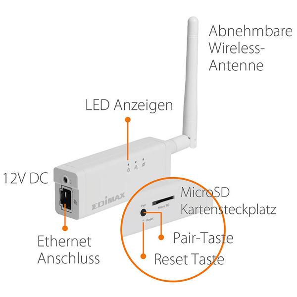 EDIMAX Netzwerkkamera IC-3210W mit IR -LEDs, Batteriebetrieb