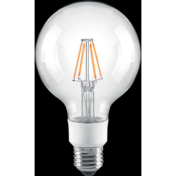 Arteko 4,5-W-Filament-G95-Globe-LED-Lampe E27, klar, dimmbar