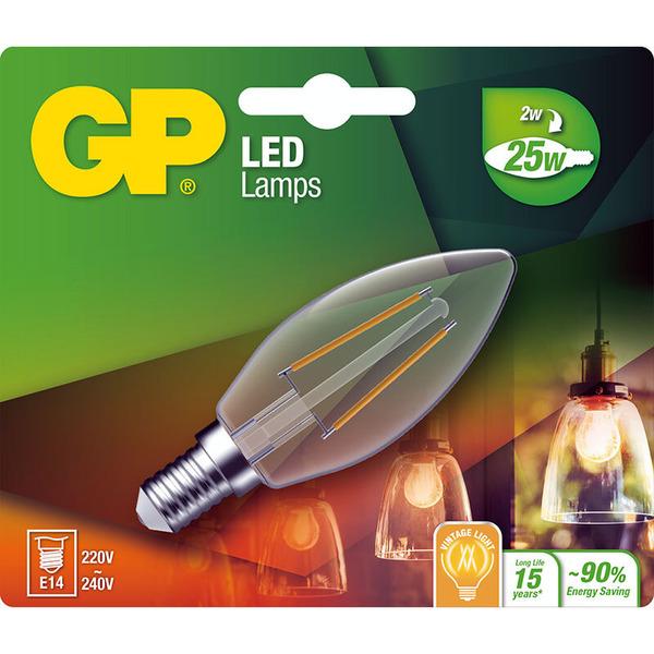 GP Lighting 2-W-Filament-LED-Kerzenlampe E14, warmweiß