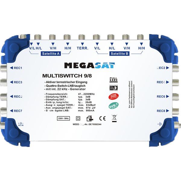 Megasat Multischalter 9/8, 2 Satelliten, 8 Teilnehmer